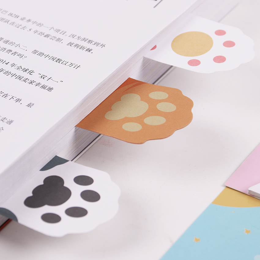 1PC Cute Cat Paw Memo Notepad Notebook Memo Pad Self-Adhesive Sticky Notes Bookmark Gift Stationery