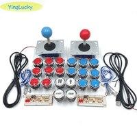 Arcada joystick botones zero atraso arcade gabinete diy kit para 5 v led botão de pressão zippy joystick 1 & 2 jogador moeda botão de início|Joysticks| |  -
