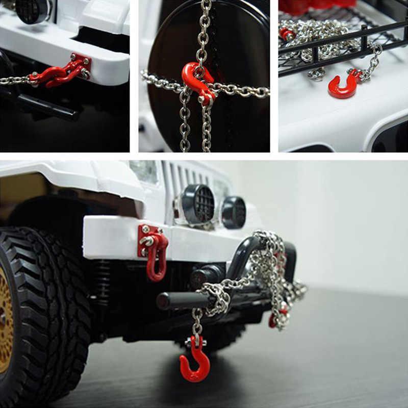 Decoración de gancho de remolque de cadena de remolque de Metal de coche RC para 1/10 RC Rock oruga Traxxas TRX4 Axial SCX10 90046 RC4WD D90 TF2 Tamiya CC01