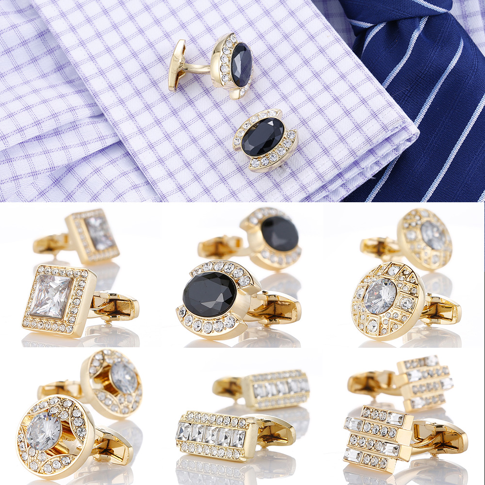 Luxury Gold Mens Cufflinks With Crystal Wedding French Shirt Cuff Links Sleeve Buttons Men's Jewelry Accessories Design Cuffs