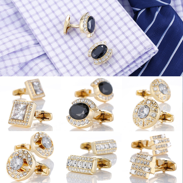 Luxury Gold Men's Cuff-links with Crystal