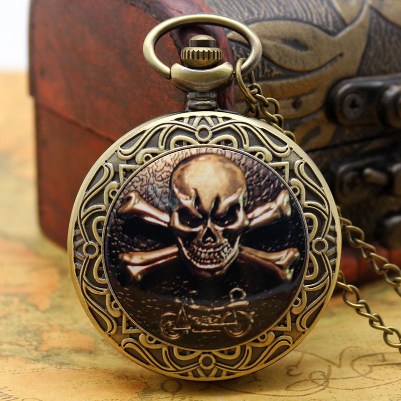 Gothic Skull Style Pocket Watch With Necklace Chain Free Shipping Best Gift For Boys/Men
