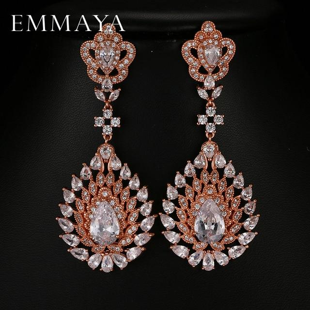 Emmaya Luxury Long Earrings For Women Rose Gold Color Bridal Wedding Dangle Femme Pendante Dropship