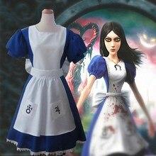 e71cc86069a Spiel Alice Madness Returns Cosplay Kostüm Halloween Kostüme Maid Kleider  Schürze Kleid Für Frauen Mädchen maid outfit schürze k.