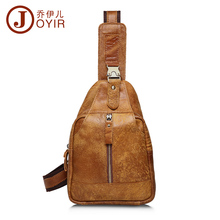 JOYIR Fashion Genuine Leather Men Chest Pack Single Shoulder Strap Bags Travel Crossbody Vintage Bag 8101