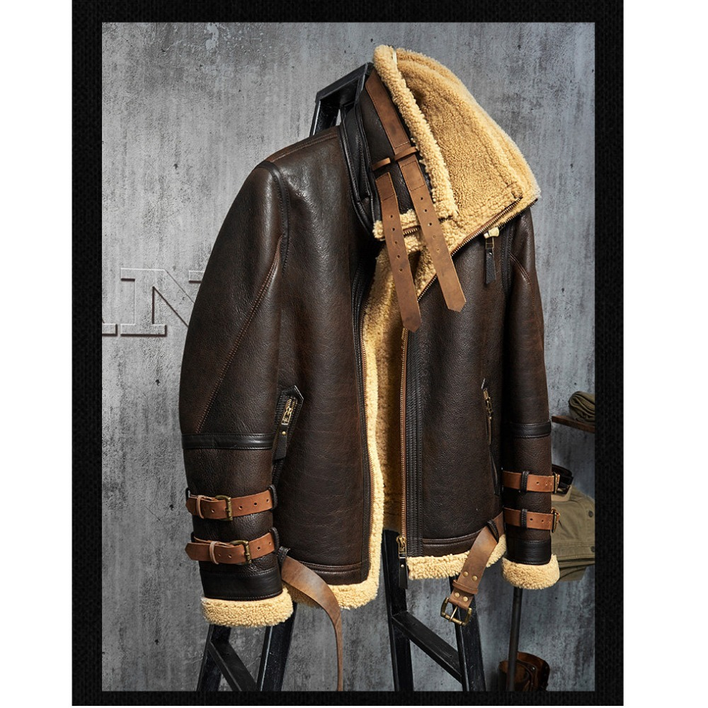35d9290d6f7 Men s Shearling Jacket B3 Flight Jacket Imported Wool From Australia Short  Leather Jacket Mans Sheepskin Aviator Fur Coat-in Genuine Leather Coats  from …
