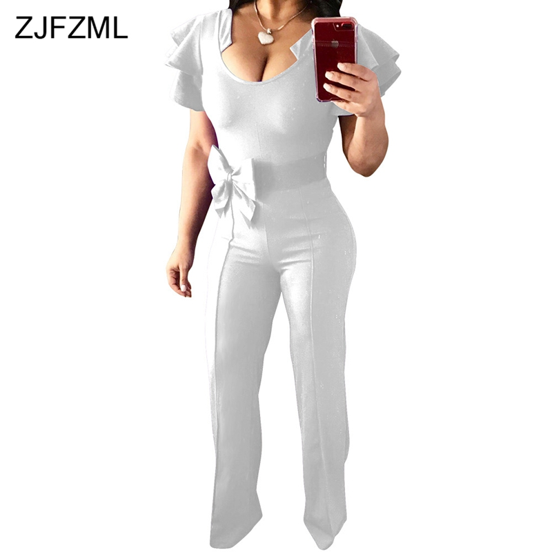 Women's Clothing Zjfzml Butterfly Sleeve Sexy Wide Leg Jumpsuit Women Bow High Waist One Piece Overall 2018 Summer Solid Long Night Club Romper To Help Digest Greasy Food
