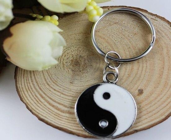 Vintage Silver Enamel Yin Yang Charms Keychain Ring For Keys Car DIY Bag Key Chain Handbag Jewelry Accessories DIY Hot A305