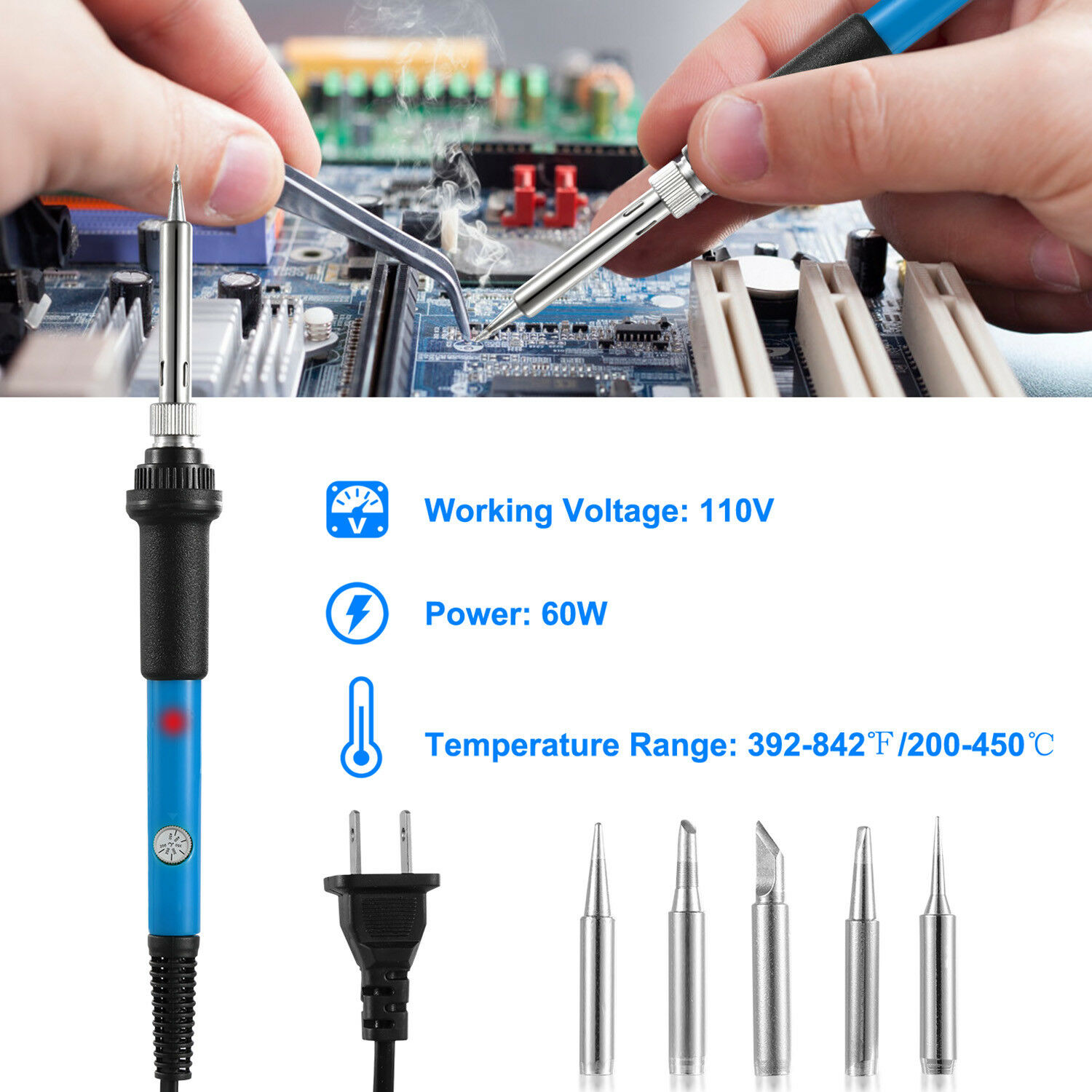 220V 110V 60W Adjustable Temperature Electric Soldering Iron Welding Solder Rework Station Heat Pencil 5pcs Tips Repair Tool