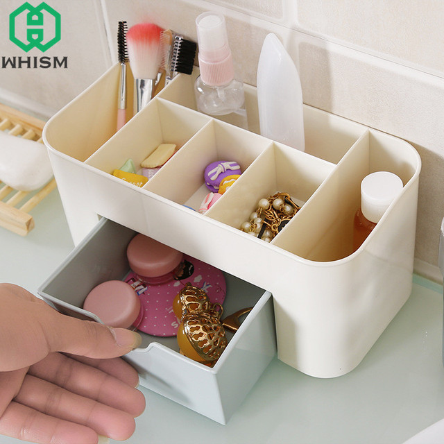 WHISM Plastic Cosmetic Drawers Jewelry Organizer Makeup Storage Box Desktop  Display Container Ring Jewlery Holder Bathroom