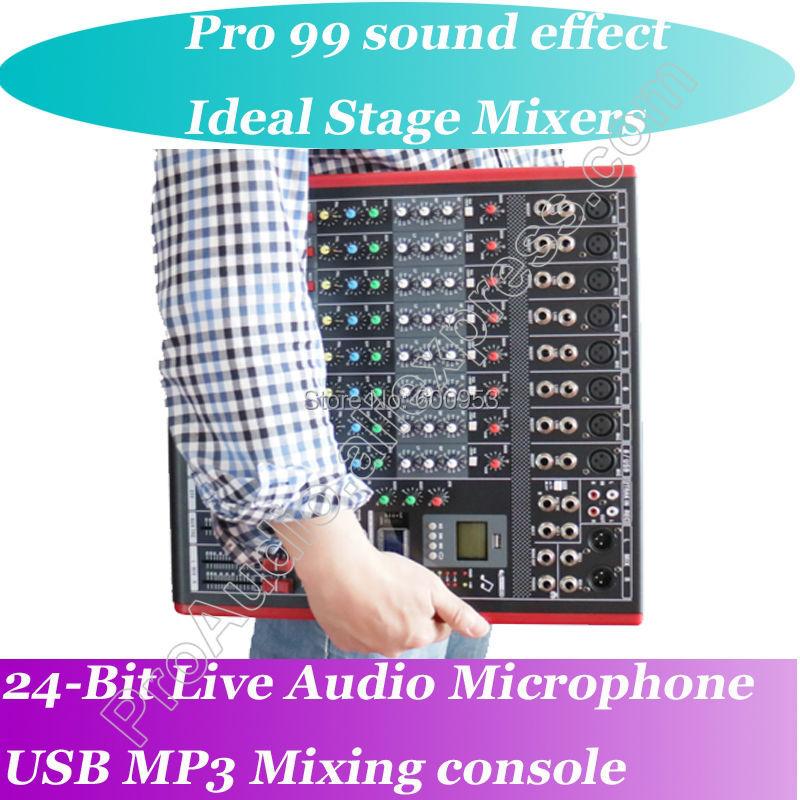 MICWL 6-8-12 Channel Mic Line Audio Bluetooth Mixer Mixing Console 3-band EQ USB Interface 48V Phantom Power цена