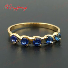 18 k yellow gold with natural sapphire ring blue men fine jewelry Classic contracted