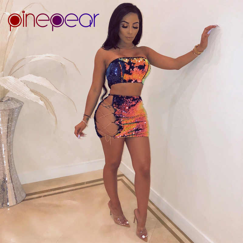 561729a2f7 PinePear New 2019 Women Glitter Sequin Dress Sexy Hollow Out Lace Up  Bandage 2 Piece Set Night Out Outfits Party Club Vestidos