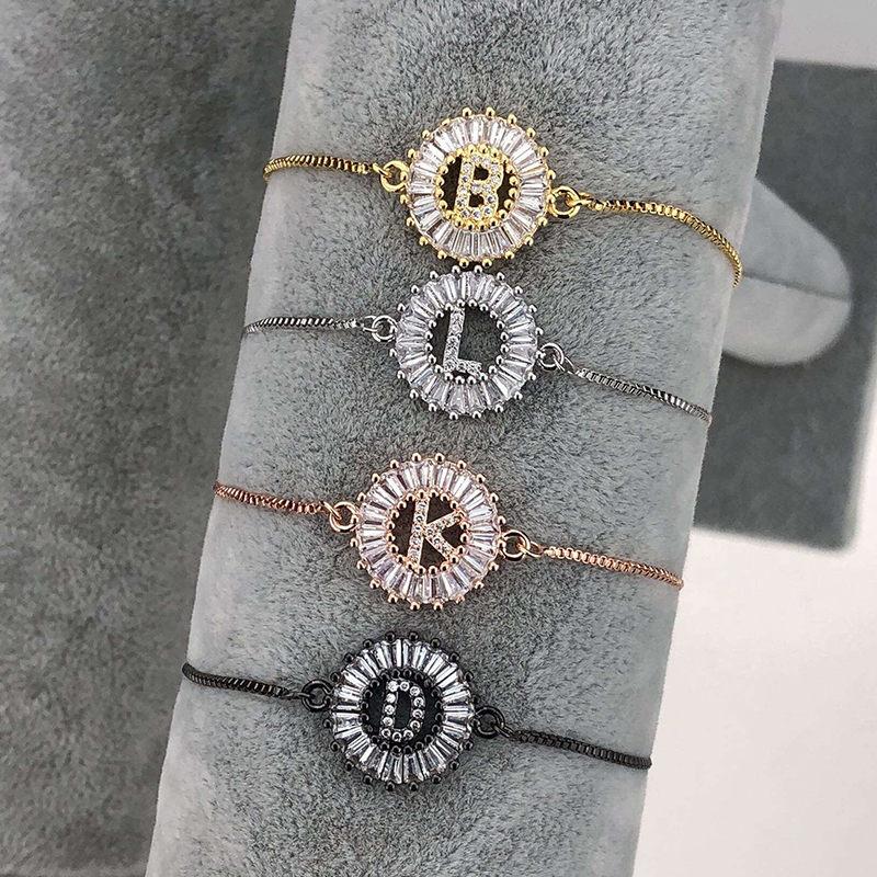 ROMAD A Z Initial Letter Bracelet Charm Cubic Zirconia Chain Bracelet for Woman Gold Silver Color Capital Letter Bracelet R4 in Charm Bracelets from Jewelry Accessories