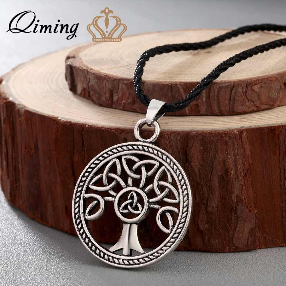 QIMING New Brand Jewelry Knot Family Tree of Life Round Charm Pendant Silver Necklace For Women Girls Gift Accessories