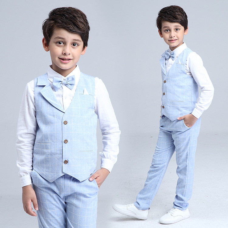 HTB1XT1UQXXXXXajXXXXq6xXFXXXR - 2017 Boys Blazer Suit Kids Cotton Vest+Tie+Blouse+Pants 4 pieces/set Clothes Sets Boys Formal Blazers for Weddings Party EB156