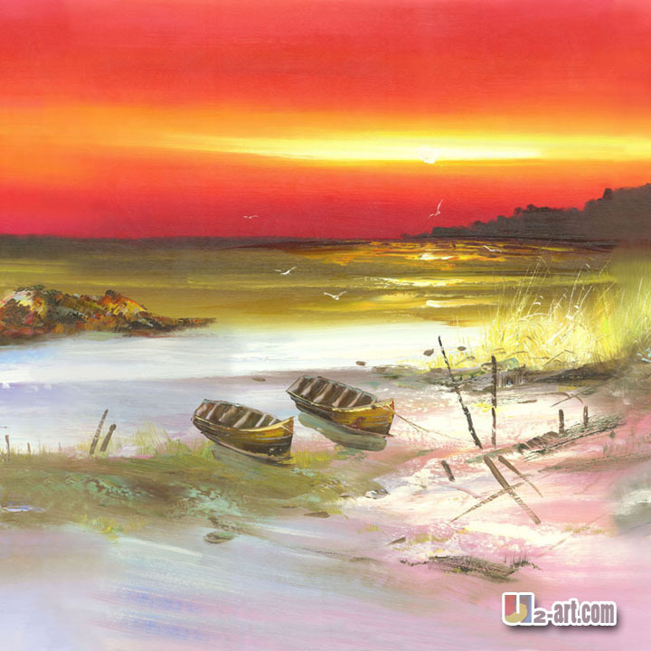 Beautiful beach and little boat canvas seascape prints printed art for home decoration /   24'x24'