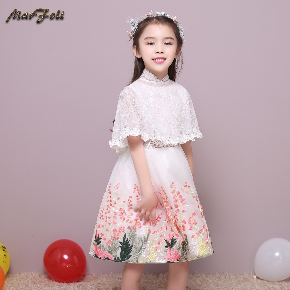 Marfoli Flower Girl Dress Ivory White Cinderella Princess Dress Birthday Christmas Gift Holiday Party Dress Costume for Kids