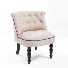 Silla de lujo de estilo europeo de Estilo Vintage Buttom cojín con nudos patas antiguas muebles de sala de estar acento Silla de sofá lateral