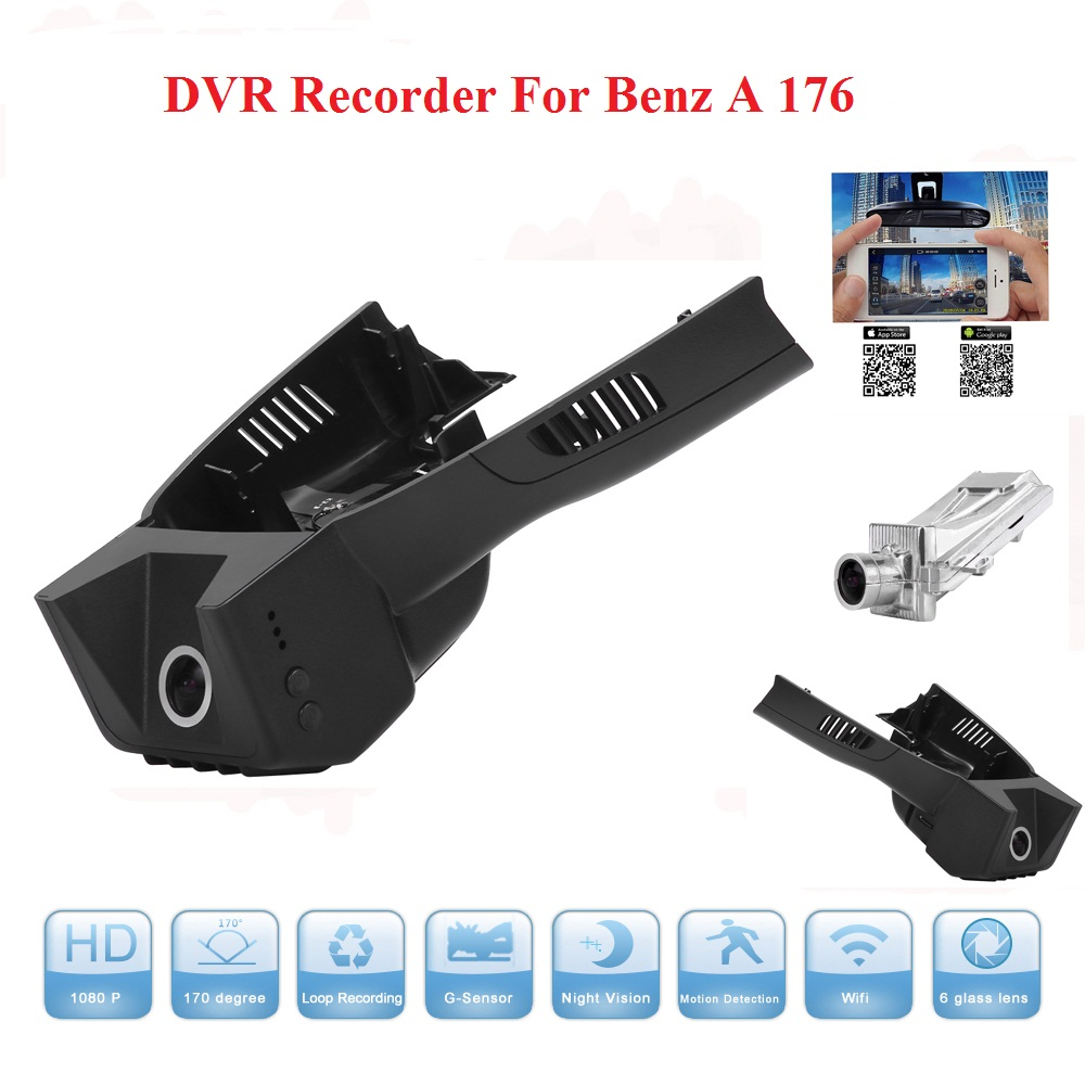 Wifi Car Camera For Benz A 176 DVR Dash Cam Night Vision Dash Camcorder WDR Hidden Install With Aluminium Alloy Free Shipping