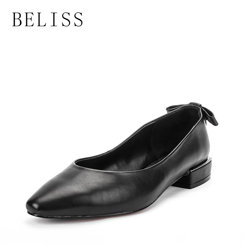 BELISS spring leisure casual women shoes shallow ladies pumps square heel genuine leather comfortable pumps woman pointed toe D1 in Women 39 s Pumps from Shoes