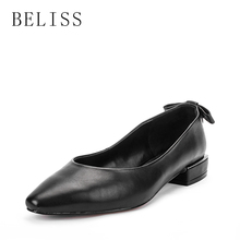 BELISS spring leisure casual women shoes shallow ladies pumps square heel genuine leather comfortable woman pointed toe D1