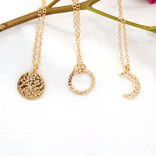 2019 New Round Sequins Circle Clavicle Chain Necklace Women Gold Moon Pendant Statement Necklace Jewelry цены