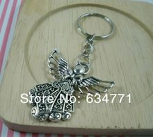 Sales! 50Pcs DIY Accessories Material Tibetan Silver Zinc Alloy Angel Band Chain key Ring (a0403 )