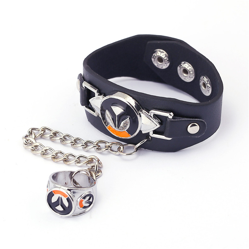 ORNAPEADIA 2017 Hot ow game peripheral accessories Bracelet Overwatch jewelry New Logo leather hand strap bracelet ring set