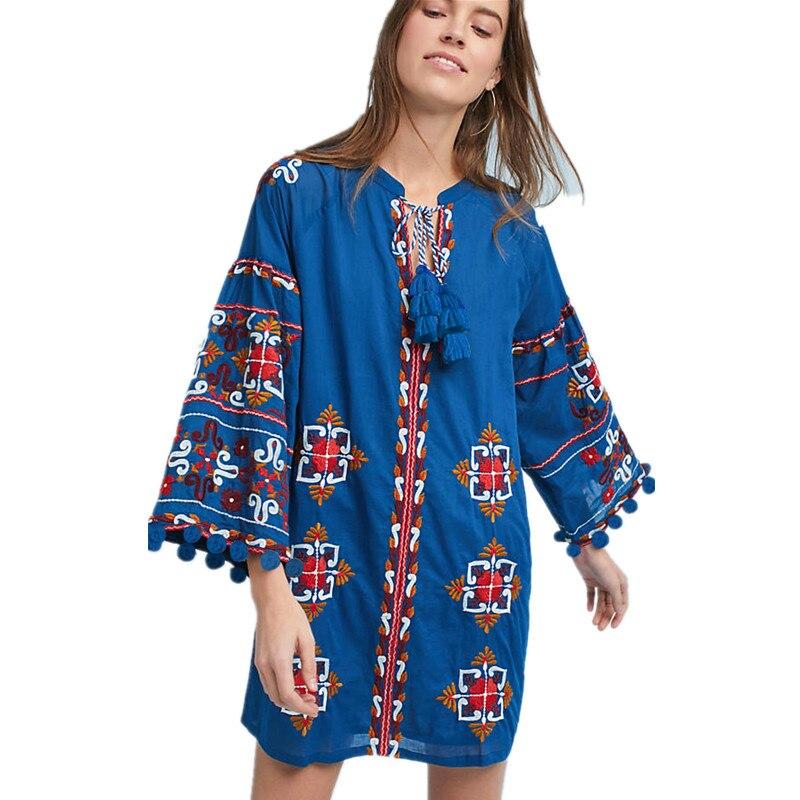 HAMALIEL luxe printemps femmes lâche Boho robe bleu broderie Floral poignet manches robe de bal Vintage gland robe courte Vestidos