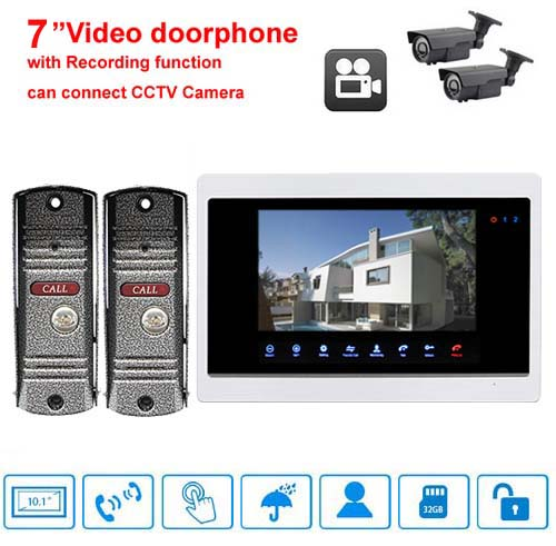 SMTVDP Home Security Doorbell(2V1) 7Luxury Video Door Phone Touch-Key Monitor w/t SD Card Slot,Support 2-Way CCTV Camera/Alarm
