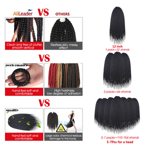 Alileader, 22 прядя/упаковка, коричневый, черный, серый цвет, плетеная тесьма, накладные волосы, Омбре, синтетические волокна, плетеные волосы для женщин