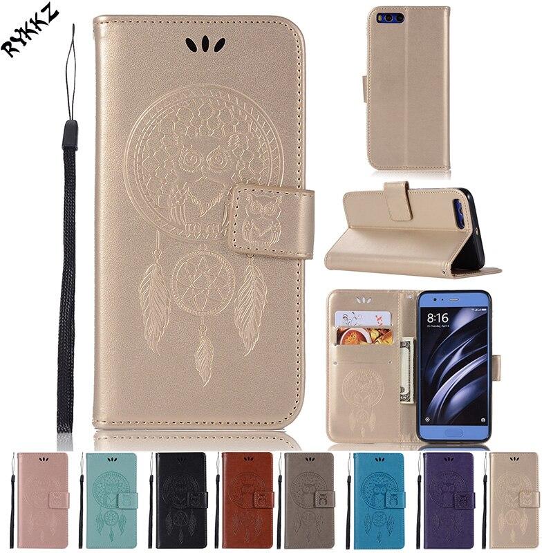 Flip Phone Cover for Xiaomi Mi 6 MCT1 MCE16 TPU+PU Owl Campanula cases for Xiaomi Mi6 Dual Wallet Silicone mobile phone bag