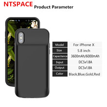 NTSPACE  External 3600/6000mAh Power Bank For iphone X Battery  Portable Power bank Battery Charger Case For iPhone X Power Case