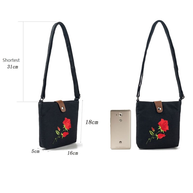 Rose Floral Embroidery Mini Bag Women Lady Bag Canvas Printed Crossbody Messenger Bag Shoulder Design Small Handbag Women