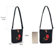 Rose Floral Embroidery Mini Bag Women Lady Bag