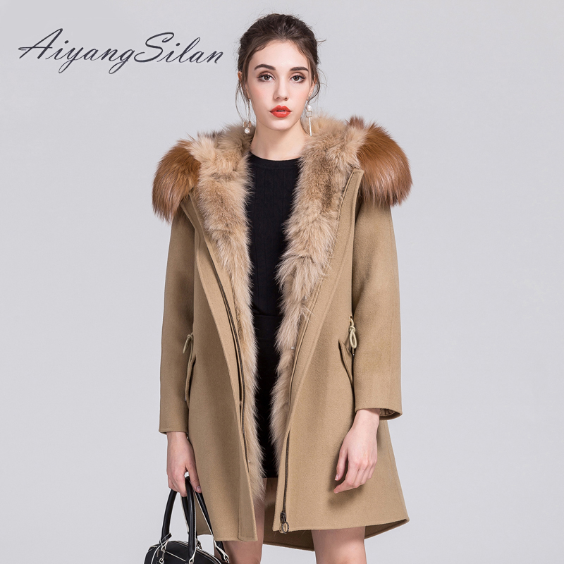 AiyangSilan Real Fox Fur Liner hood parka winter autumn jacket long women coat long style solid woolen coats female jackets aiyangsilan fox fur down liner detachable jacket long warm hooded ladies fur coats white real fox fur collar parka for women