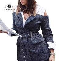 Для женщин Блузы осень Повседневное с длинным рукавом Пояса Элегантная блузка с открытыми плечами Feminino блузка рубашка Топы