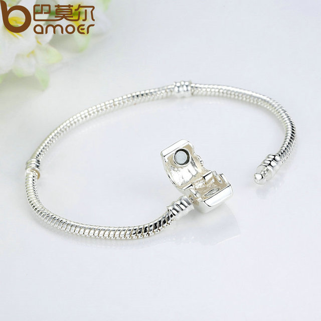 BAMOER High Quality Wholesale Silver Color Basic Snake Chain Magnet Clasp for Charm Bracelet Beads & Jewelry Making PA9010