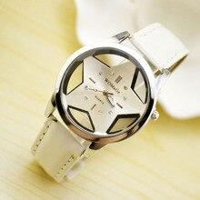 Модные женские брендовые милые дизайнерские стильные женские часы с пятиконечной звездой оптом, красивые женские часы из искусственной кожи