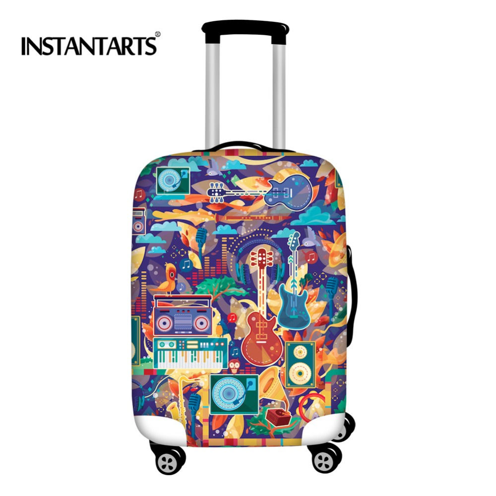 INSTANTARTS Joy Of Music Travel Suitcase Protector Cover For 18-30 Inch Guitar Boys Waterproof Luggage Covers Travel Accessories