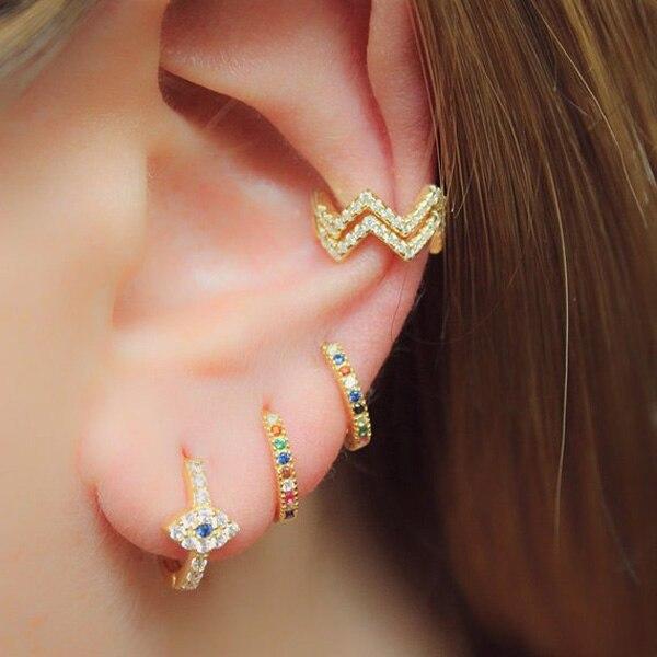 3103db68c157 Green Evil Eye Crystal hoop Earrings For Women Girl Brand Jewelry Pendientes  Mujer Moda Famous wedding