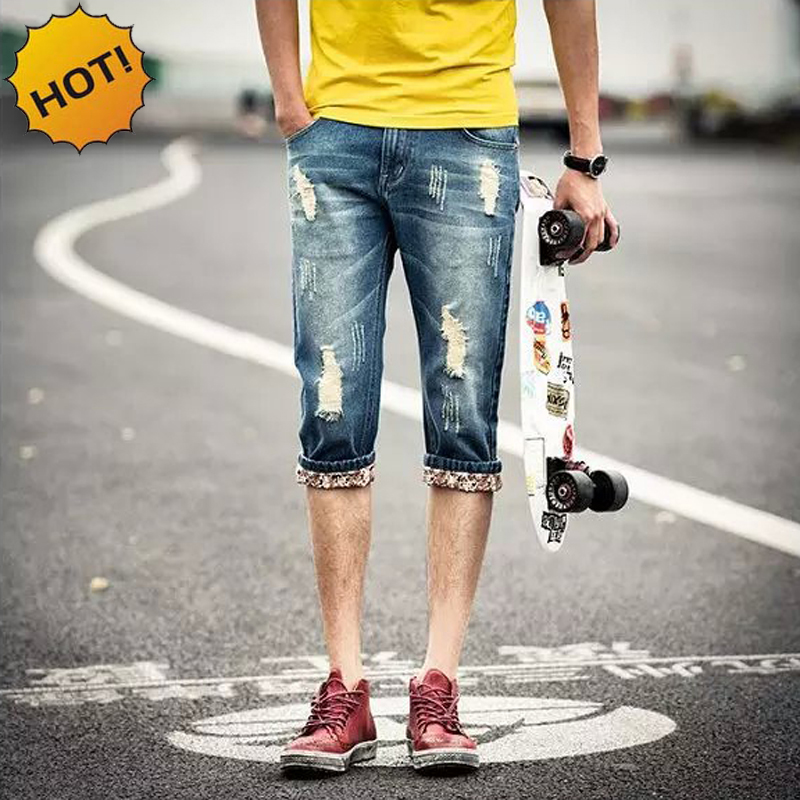 Fashion Teenagers Boy Hole Ripped Cottom Jeans Men Slim Fit Hip Hop Cowboy Capri Pants Light blue Retro Cropped Trousers 28-34
