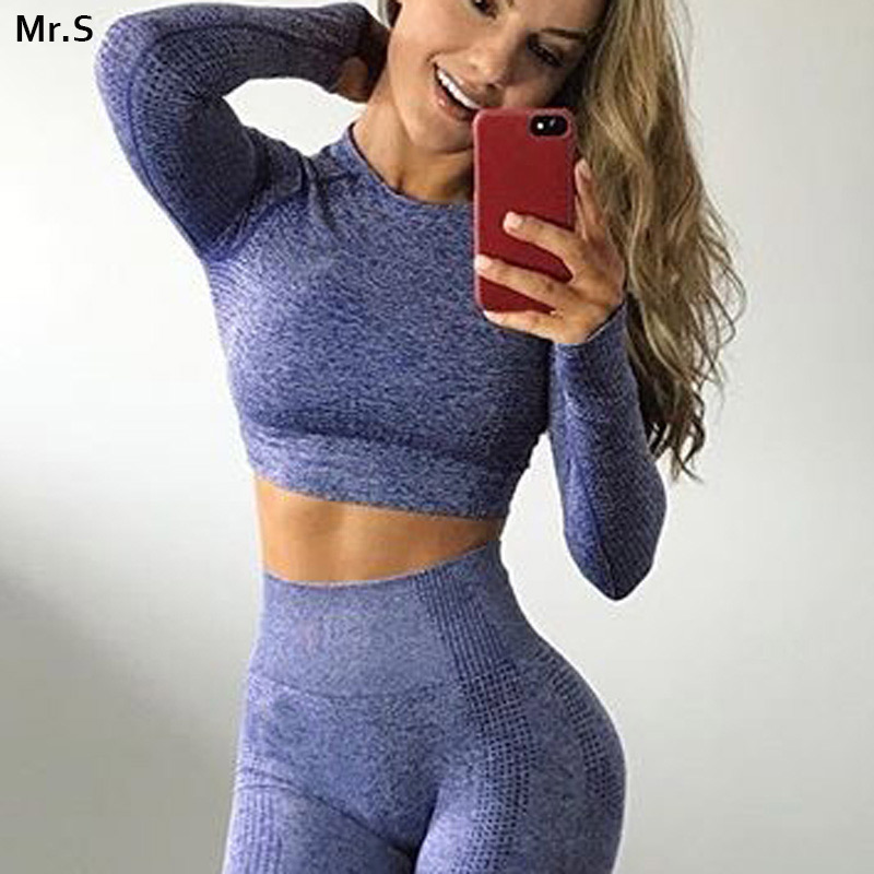 Vital Seamless Yoga Top Long Sleeve Workout Tops For Women Fitness Gym Crop Top Athletic Gym Shirt Women Sportswear Active