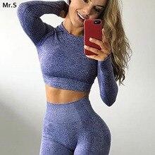 Vital бесшовный топ для йоги с длинным рукавом, топы для тренировок для женщин, укороченный топ для фитнеса, тренажерного зала, Спортивная рубашка для женщин, спортивная одежда для активного отдыха