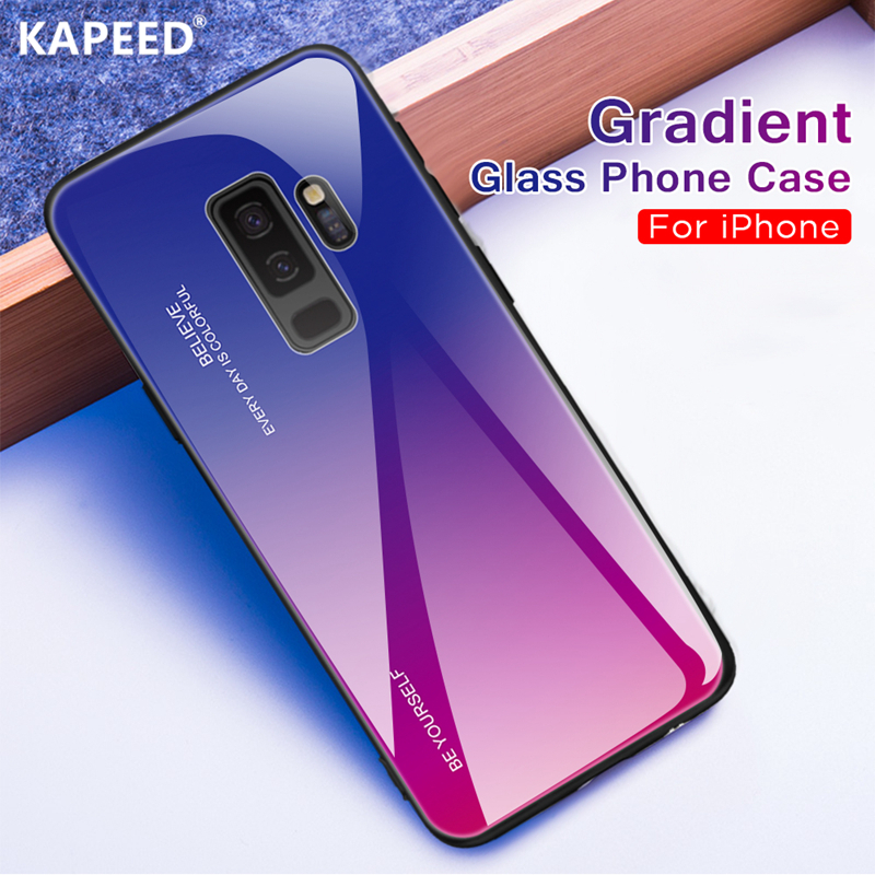 Glass Case For Samsung Galaxy S8 S9 Plus Luxury Gradient Color Tempered Glass Back Cover For