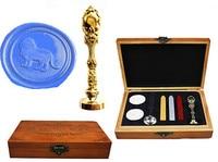 Vintage Lion Custom Luxury Wax Seal Sealing Stamp Brass Peacock Metal Handle Sticks Melting Spoon Wood