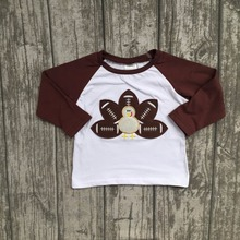 new arrival baby boys Fall boutique top t-shirts children clothes long sleeve cotton raglans turkey brown thanksgiving day