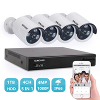 SUNCHAN Security Camera System 4ch CCTV System DVR DIY Kit 4 X 4 0MP Security Camera