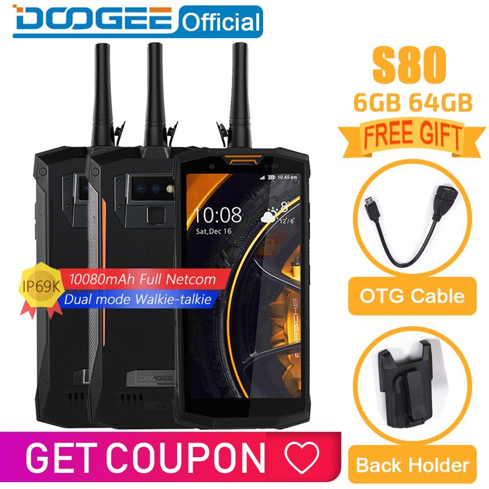IP68/IP69K Walkie talkie DOOGEE S80 Carga Sem Fio Do Telefone Móvel NFC 10080mAh Helio P23 12V2A 5.99 FHD Octa núcleo 6GB 64GB 16.0M